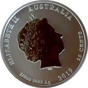Australia 25 Cents Year of the Pig 2019 ELIZABETH II AUSTRALIA IRB 1/4 OZ 9999 AG 2019 25 CENTS coin obverse