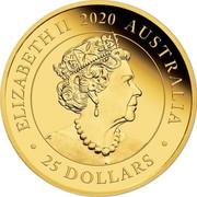 Australia 25 Dollars 165th anniversary of Australia's first Sovereign 2020 ELIZABETH II 2020 AUSTRALIA • 25 DOLLARS • coin obverse