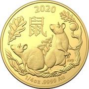 Australia 25 Dollars 6th Portrait - Year of the Rat 2020 BU 2020 鼠 AWB 1/4OZ .9999 AU coin reverse