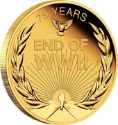 Australia 25 Dollars End of WWII 75th Anniversary 2020 P Proof 75 YEARS END OF WWII coin reverse