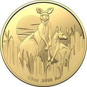 Australia 25 Dollars Kangaroos at Dawn 2020 1/5 OZ 9999 AU coin reverse