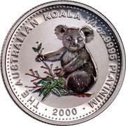 Australia 25 Dollars Koala (Colored) 2000 Proof THE AUSTRALIAN KOALA 1/4 OZ. 9995 PLATINUM P100 DATE coin reverse