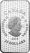 Canada 25 Dollars (Playing Cards of New France - King of Diamonds) ELIZABEHT II D•G•REGINA 2018 CANADA 25 DOLLARS coin obverse