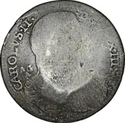 Greece 25 Paras (1814) KM# 18 Countermarked Coinage CAROLVS II D G REX HISP AG A coin obverse