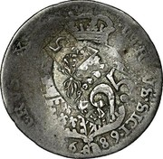 Greece 25 Paras (1814) KM# 18 Countermarked Coinage VTRIVS SICI HIERVS G X 16 88 25 coin reverse