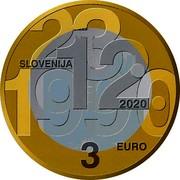 Slovenia 3 Euro 30th anniversary of plebiscite on sovereignty and independence 2020 23.12.1990 SLOVENIJA 2020 3 EURO coin obverse