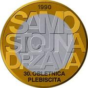 Slovenia 3 Euro 30th anniversary of plebiscite on sovereignty and independence 2020 1990 SAMO STOJNA DRŽAVA 30. OBLETNICA PLEBISCITA coin reverse