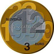Slovenia 3 Euro (30th anniversary of plebiscite on sovereignty and independence) 23.12.1990 SLOVENIJA 2020 3 EURO coin obverse