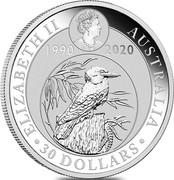 Australia 30 Dollars 30th Anniversary of the Kookaburra 2020 ELIZABETH II AUSTRALIA 30 DOLLARS 1990 2020 coin obverse