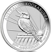 Australia 30 Dollars 30th Anniversary of the Kookaburra 2020 AUSTRALIAN KOOKABURRA 30TH ANNIVERSARY 1 KILO 9999 SILVER coin reverse