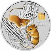 Australia 30 Dollars 6th Portrait - Year of the Mouse (coloured) 2020 P 鼠 MOUSE 2020 IJ P coin reverse