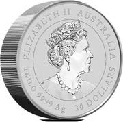 Australia 30 Dollars Year of the Mouse 2020 P ELIZABETH II • AUSTRALIA • 30 DOLLARS • 1 KILO 9999 AG coin obverse