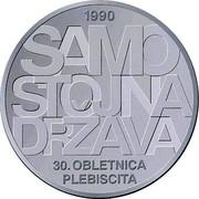 Slovenia 30 Euro 30th anniversary of plebiscite on sovereignty and independence 2020 1990 SAMO STOJNA DRŽAVA 30. OBLETNICA PLEBISCITA coin reverse