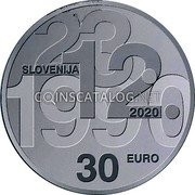 Slovenia 30 Euro (30th anniversary of plebiscite on sovereignty and independence) 23.12.1990 SLOVENIJA 2020 30 EURO coin obverse