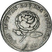 USA 4 Reales Carlos III ND (1760)  JUAN. ESTEVAN. DE PENA. FLORIDA 1760 coin reverse
