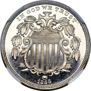 USA 5 Cents (Shield Nickel Without Rays Pattern) IN GOD WE TRUST 1866 coin obverse