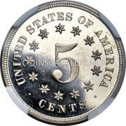 USA 5 Cents (Shield Nickel Without Rays Pattern) UNITED STATES OF AMERICA 5 CENTS coin reverse