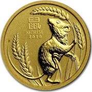 Australia 5 Dollars 6th Portrait - Year of the Mouse 2020 P BU 鼠 MOUSE 2020 P coin reverse