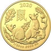 Australia 5 Dollars 6th Portrait - Year of the Rat 2020 BU 2020 鼠 AWB 1/20OZ .9999 AU coin reverse