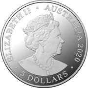Australia 5 Dollars 75th Anniversary of the End of WWII 2020 Proof ELIZABETH II AUSTRALIA 2020 5 DOLLARS coin obverse