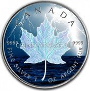 Canada 5 Dollars (Storm Lightning Bolt Maple Leaf) CANADA 9999 FINE SILVER 1 OZ ARGENT PUR 9999 coin reverse