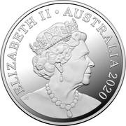 Australia 5 Dollars Tasmanian Devil 2020 ELIZABETH II AUSTRALIA 2020 coin obverse