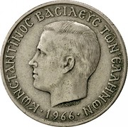 Greece 5 Drachmai Constantine II 1966 KM# 91 ΚΩΝΣΤΑΝΤΙΝΟΣ ΒΑΣΙΛΕΥΣ ΤΩΝ ΕΛΛΗΝΩΝ coin obverse