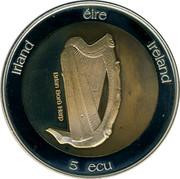 Ireland 5 ECU Bodroig St. Patrick 1995 Proof X# 35 IRLAND ÉIRE IRELAND 5 ECU coin obverse