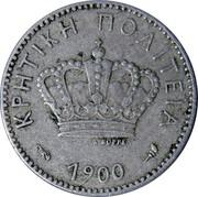 Greece 5 Lepta 1900 A KM# 3 Greek Administration ΚΡΗΤΙΚΗ ΠΟΛΙΤΕΑ 1900 Α ΒΟΡΡΕΛ coin obverse