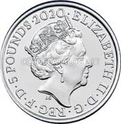 UK 5 Pounds (Music Legends - Queen) ELIZABETH II · D · G · REG · F · D · 5 POUNDS ·2020· J.C coin obverse