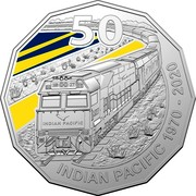 Australia 50 Cents 50th Anniversary of the Indian Pacific 2020 50 NR 27 INDIAN PACIFIC INDIAN PACIFIC 1970-2020 coin reverse