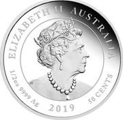 Australia 50 Cents (6th Portrait - Newborn) ELIZABETH II AUSTRALIA 2019 JC 1/2OZ 9999 AG 2019 50 CENTS coin obverse