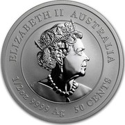 Australia 50 Cents 6th Portrait - Year of the Mouse 2020 Proof ELIZABETH II AUSTRALIA JC 1/2OZ 9999 AG 50 CENTS coin obverse
