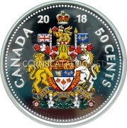 Canada 50 Cents (Canada's Coat of Arms (Colored)) CANADA 2018 50 CENTS coin reverse