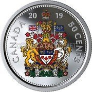 Canada 50 Cents (Coat of Arms (colored)) CANADA 2019 50 CENTS A MARI USQUE ADMARE coin reverse