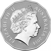 Australia 50 Cents Lunar Year of the Horse 2014 UNC (Frosted) ELIZABETH II AUSTRALIA 2014 IRB coin obverse