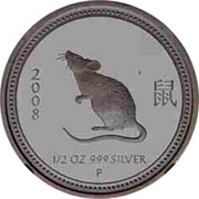 Australia 50 Cents Year of the Mouse 2008 P Proof 2008 1/2 OZ 999 SILVER P coin reverse