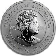 Australia 50 Cents (Year of the Mouse 鼠) ELIZABETH II AUSTRALIA JC 1/2OZ 9999 AG 50 CENTS coin obverse