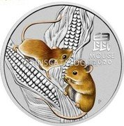 Australia 50 Cents (Year of the Mouse 鼠) 鼠 MOUSE 2020 IJ P coin reverse