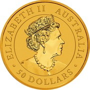 Australia 50 Dollars Australian Kangaroo 2020 ELIZABETH II AUSTRALIA 50 DOLLARS coin obverse