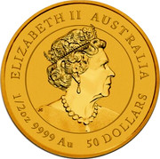 Australia 50 Dollars Year of the Mouse 2020 P ELIZABETH II • AUSTRALIA • 50 DOLLARS • 1/2 OZ 9999 AU coin obverse