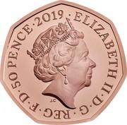 UK 50 Pence Snowman 2019 Proof ELIZABETH II ∙ D ∙ G ∙ REG ∙ F ∙ D ∙ 50 PENCE ∙ 2019 J.C coin obverse