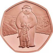 UK 50 Pence Snowman 2019 Proof  coin reverse