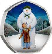UK 50 Pence Snowman (Colored) 2019 Proof  coin reverse