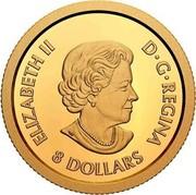 Canada 8 Dollars Lucky Flower Dragon 2020 ELIZABETH II D•G•REGINA 8 DOLLARS coin obverse