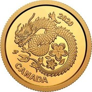 Canada 8 Dollars Lucky Flower Dragon 2020 CANADA 2020 coin reverse