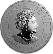 Australia 8 Dollars Year of the Mouse 2020 P ELIZABETH II AUSTRALIA JC 5OZ 9999 AG 8 DOLLARS coin obverse