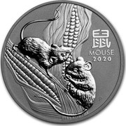 Australia 8 Dollars Year of the Mouse 2020 P 鼠 MOUSE 2020 IJ P coin reverse