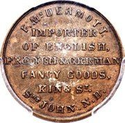 Canada Business Card (Business Card) F. MCDERMOTT IMPORTER OF ENGLISH, FRENCH & GERMAN FANCY GOODS, KING ST. SNT JOHN.N.B. coin reverse