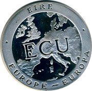 Ireland ECU Irish harp 1992 PM Proof X# 25 EIRE EUROPE - EUROPA coin obverse